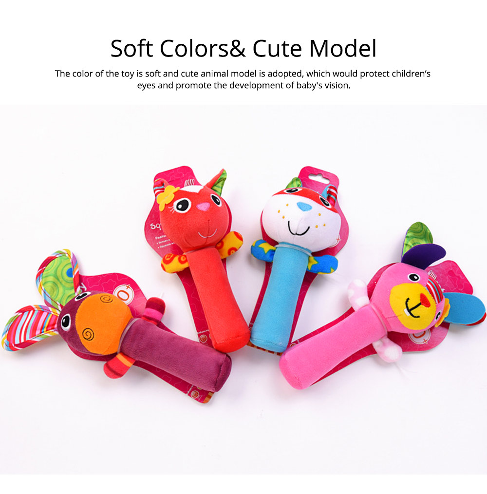 Colorful Cute Animal Model Rattle Pacification Toy for Infants, Ultrasoft Hand Grab Toy BB Stick Baby Early Education Toy 4