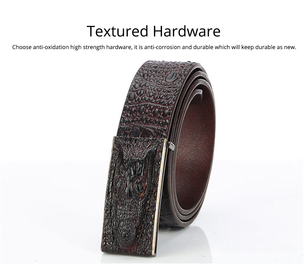 Men's Alloy Buckle Belt with Crocodile Smooth Buckle, Premium Leather Polished Stone Business Belt for Father's Day 9