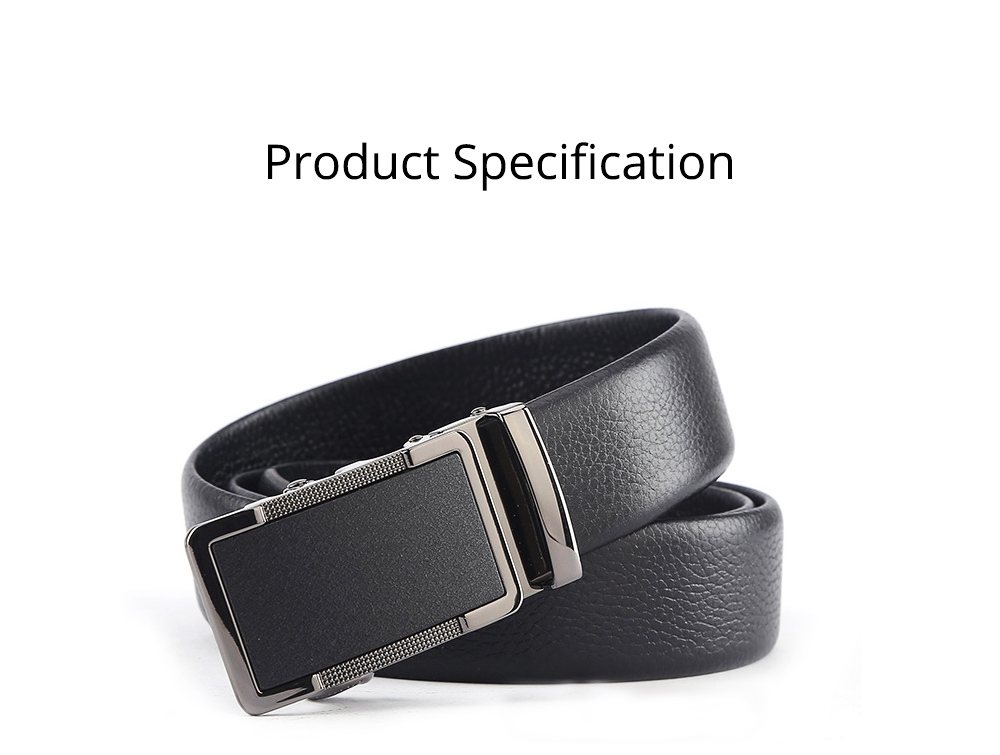 Men' Alloy Automatic Buckle Belt with Stainless Steel Buckle, Second Floor Leather Polished Stone Business Belt 7