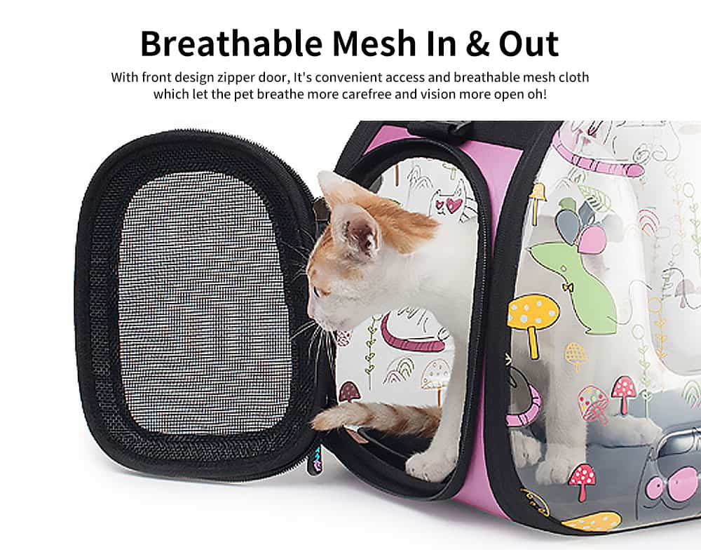 Transparent Portable Folding Pet Back Pack with Porous Air & Elegant Zipper Design for Pets Outdoors 2