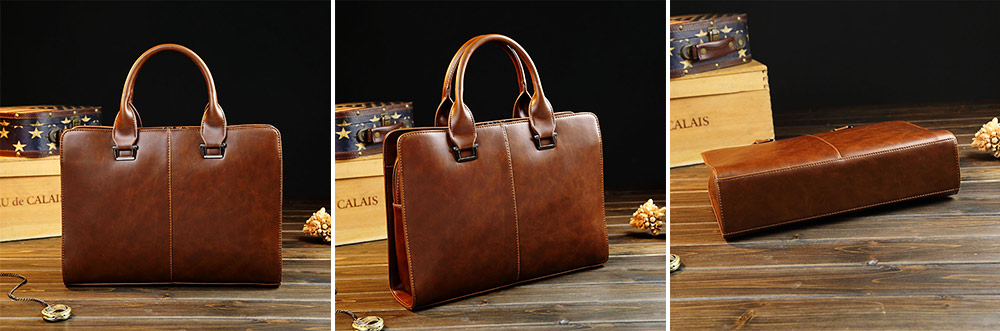 Business Shoulder Bag with Comfortable Hand Belt & Metal Zipper, PU Leather & Square Pull Card Shoulder Bag 2