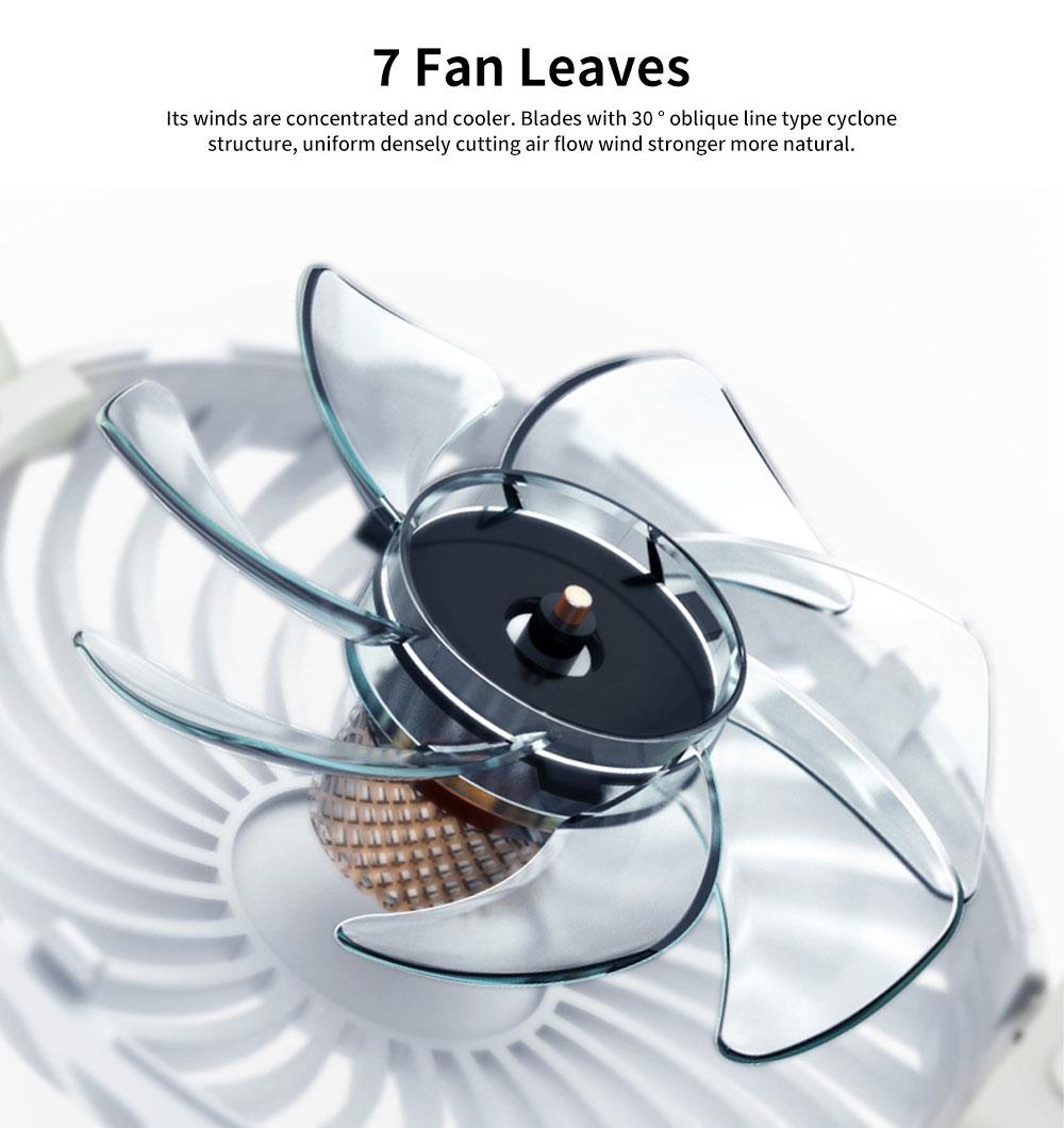 Portable Travel Mini Fan, Internal Blue and Side Light, USB Powered Handheld Fan 4