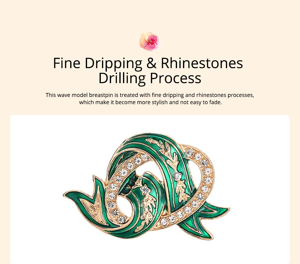 Elegant Green Wave Model Rhinestone Embellishment Alloy Brooch for Women, Scarf Clothes Ornament Accessories Breastpin Women Jewelry 2