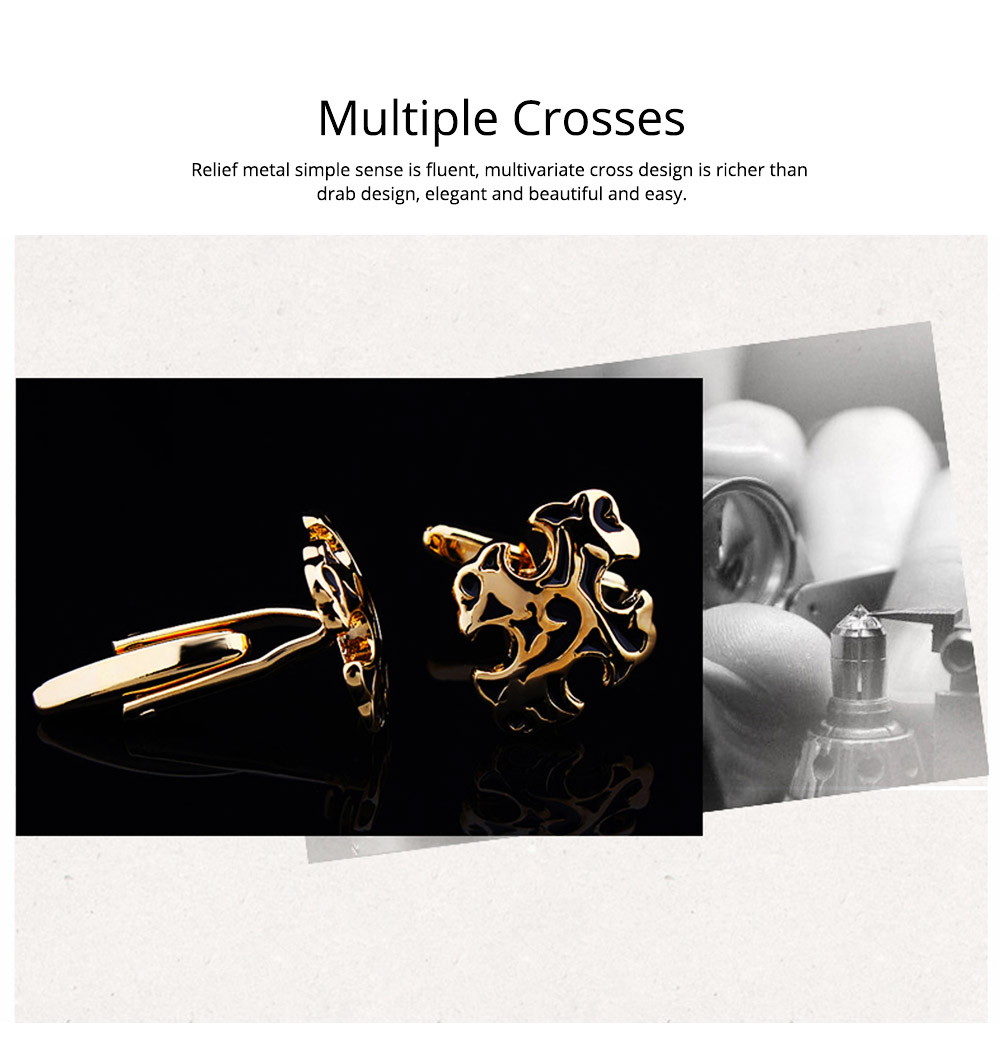Men's Multiple Crosses Classical Cufflink, French Style Shirts Cufflink Texture Cross Buttons 1