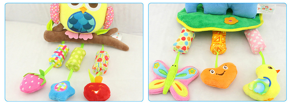 Cute Cartoon Animal Plush Baby Mobile, Delicate Fancy Pacification Early Education Stroller Hanging Toy for Infants Babies 9