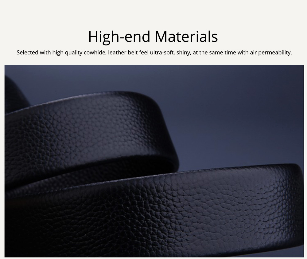 Men's Scratch Resistant Pure Leather Belt with Texture Alloy Buckle, Automatic Buckle Business Belt for Father's Day 3