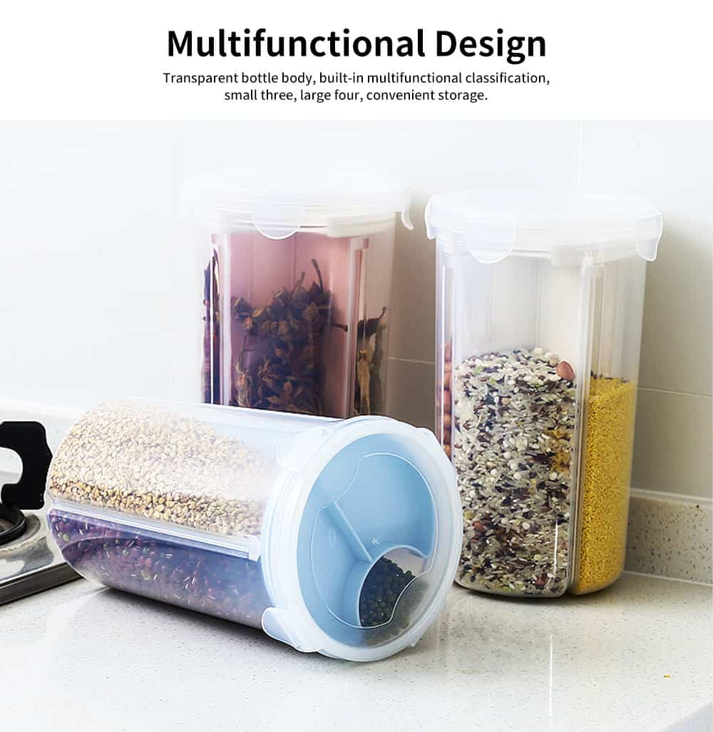 Multi-purpose Storage Convenient Sealed Grain Jar with Transparent Three-compartment and Grid Classification Design 4