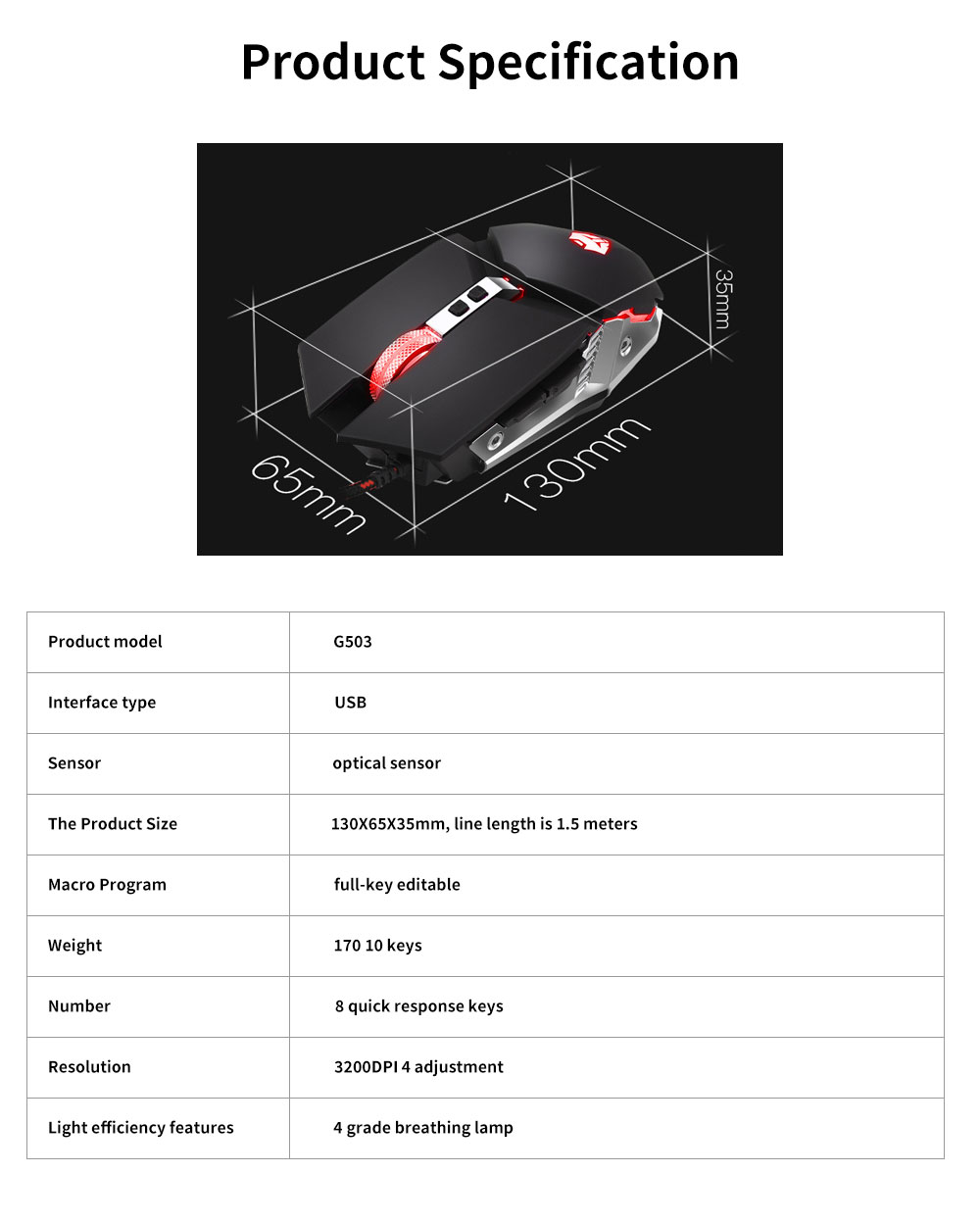 E-sports Game Mouse with Adjustable 4-gears & No Backseat Game Machine Programming Standard, Support to PUBG Machine 5