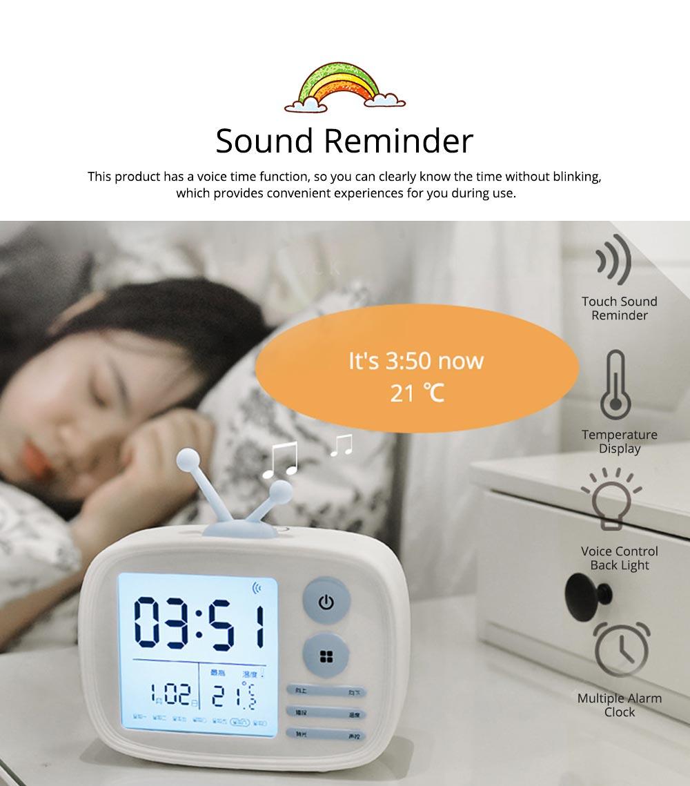 Creative Television Model Intelligent Digital Alarm Clock Watch, Stylish Funny Clock with Sound Reminder Two Light 6