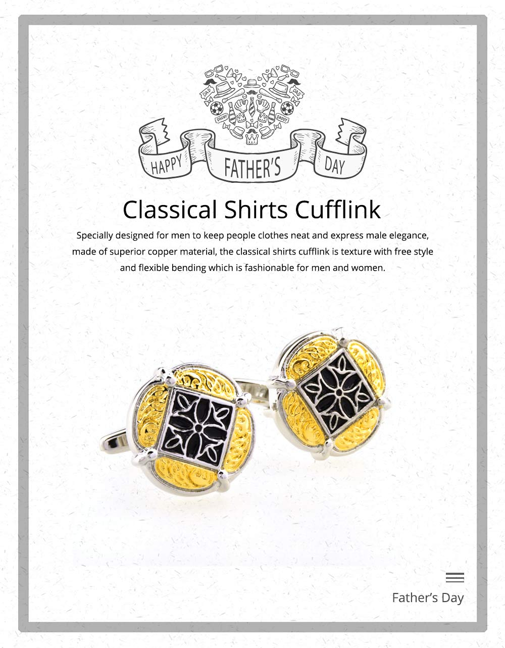 French Style Cuff Links, Classical Cufflink of Color Matching, Electroplating Fashion Buttons 0