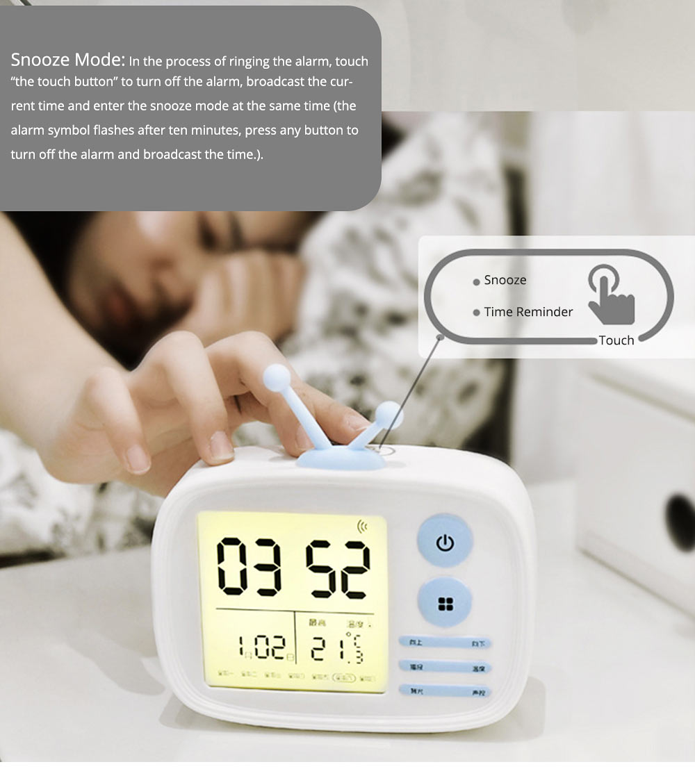 Creative Television Model Intelligent Digital Alarm Clock Watch, Stylish Funny Clock with Sound Reminder Two Light 7