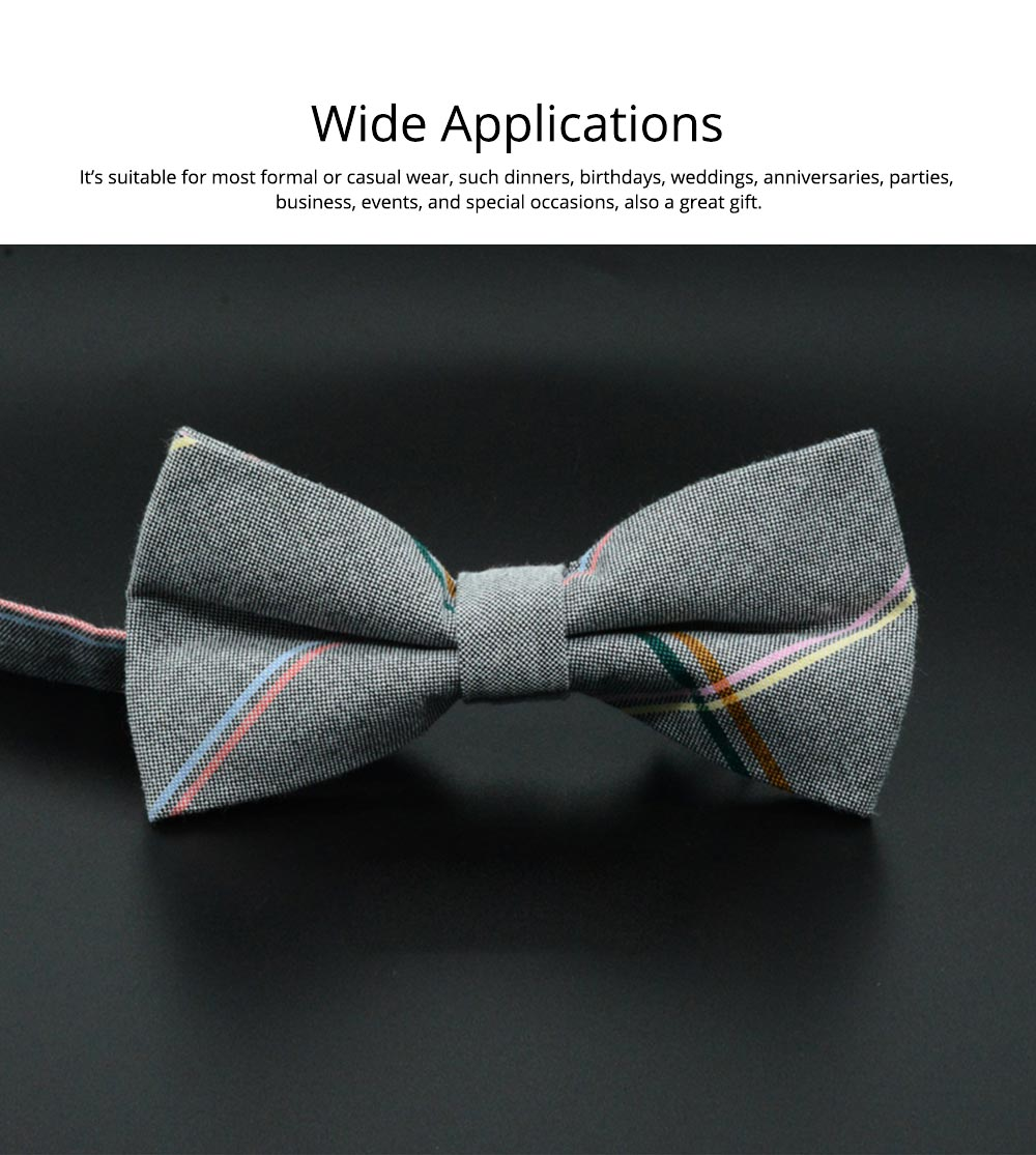 Men' Cotton Grid Self Tie Bow Ties, Unique Bow Ties with Various Styles for Groomsman Gets Married 5