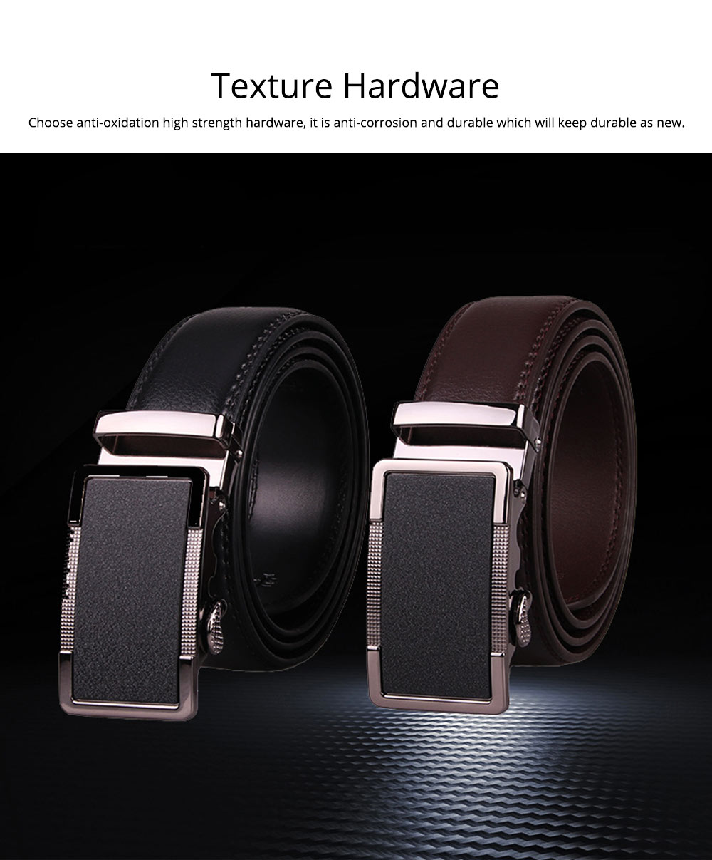 Men' Alloy Automatic Buckle Belt with Stainless Steel Buckle, Second Floor Leather Polished Stone Business Belt 5