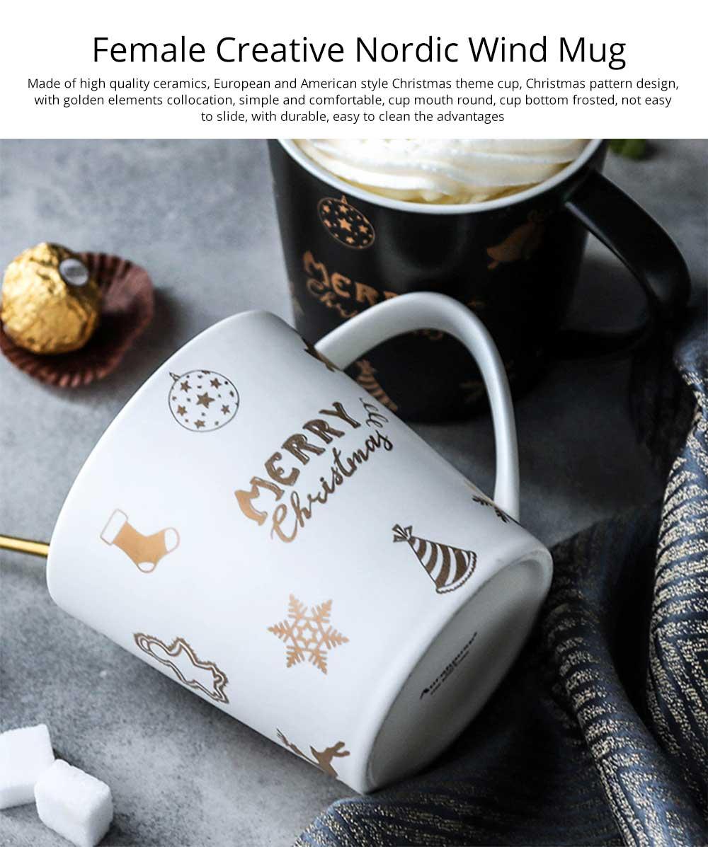 Christmas Couple Mug, Female Creative Nordic Mug, Large Capacity Ceramic Cup, Coffee Cup 0
