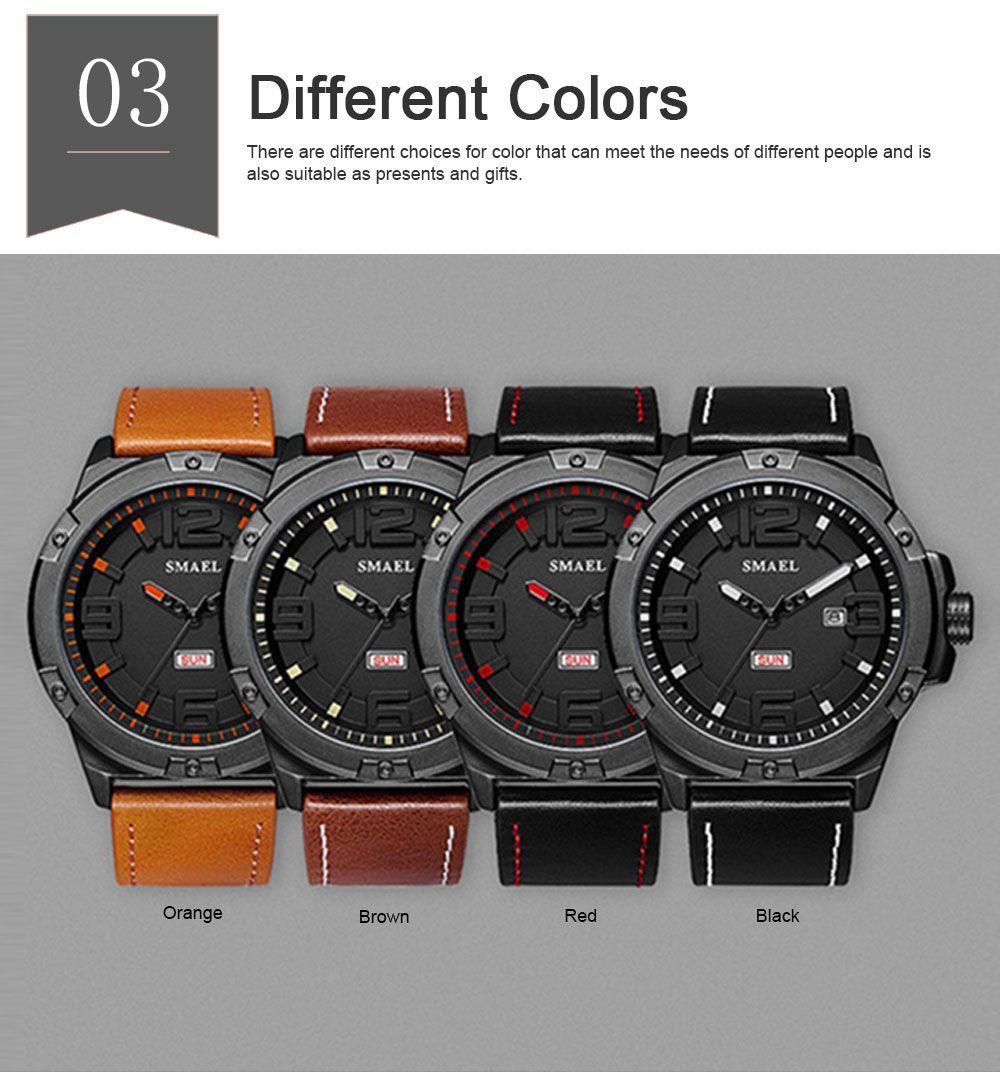 Waterproof Sport Watch with Calendar, Multifunctional Leather Band Sport Watchfor Men 3
