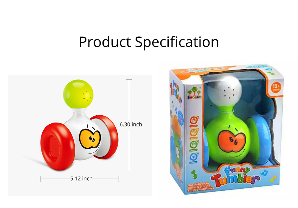 Funny Colorful Solid Plastic Pulley Tumbler Toy, Infants Babies Delicate Early Education Toy with Sound Effect 7