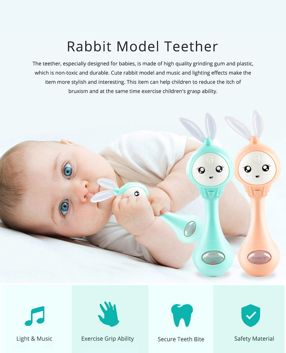 Cute Rabbit Model Babies Grinding Gum Teether Toy, Creative Music Colorful Light Molar Bite Toy for Infant Kids 0