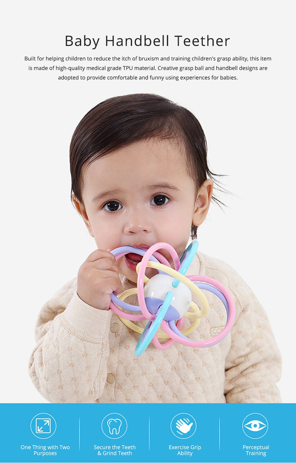 Creative Infant Grasping Spin Handbell Sensory Teether, Flexible Soft TPU Teething Early Education Rattle Toy 0