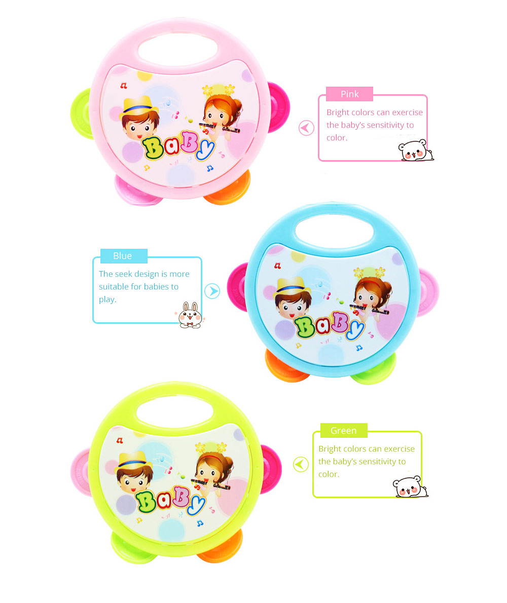 Colorful Baby Hand Bell with Cute Painting, Delicate Solid Plastic Children Tambourine Rattle Early Education Toy 4