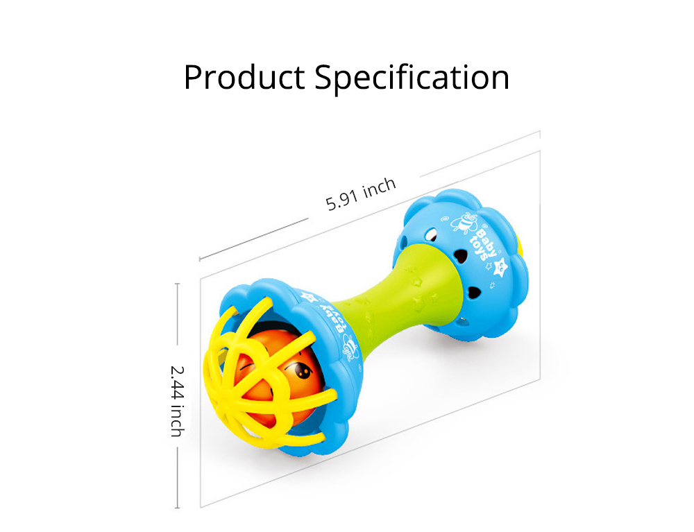Soft Silicone Teether Plastic Hand Bell Hammer, Solid ABS Handbell Rattle Babies Early Education Toy 6