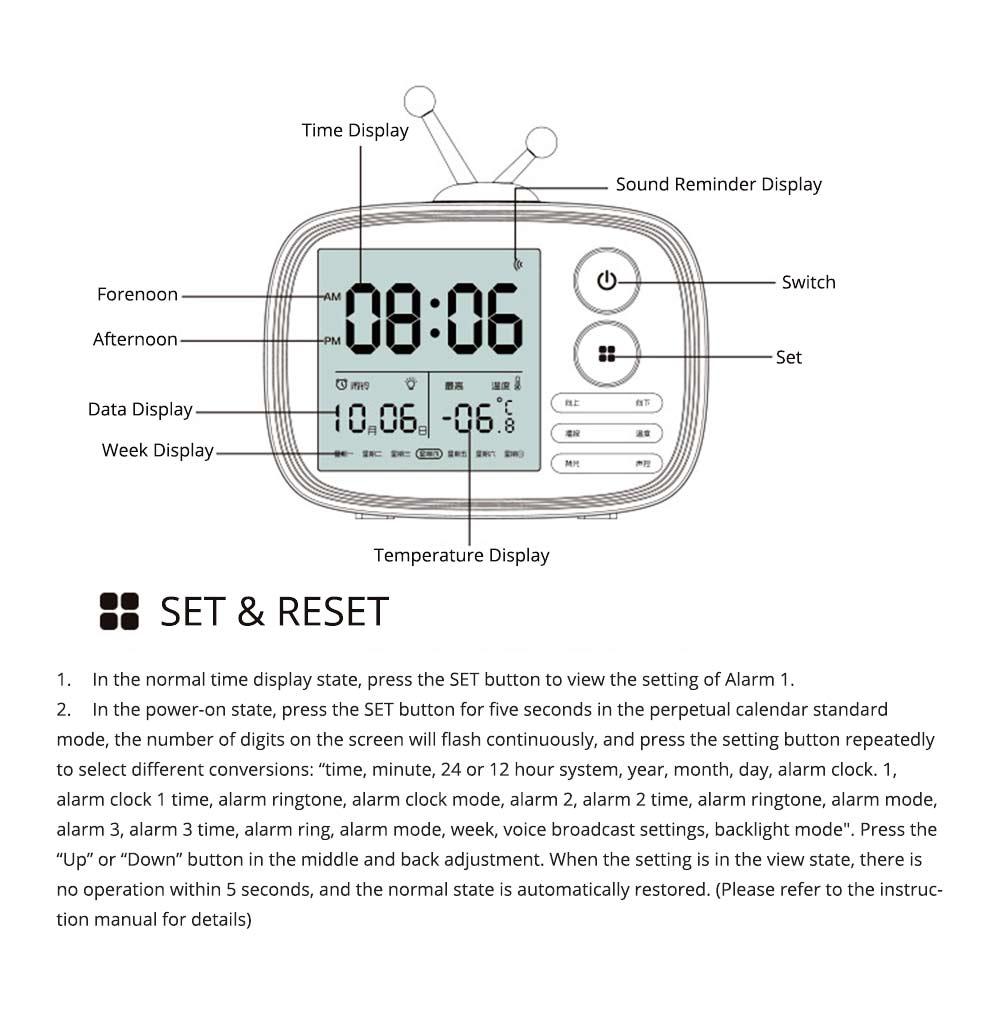 Creative Television Model Intelligent Digital Alarm Clock Watch, Stylish Funny Clock with Sound Reminder Two Light 16
