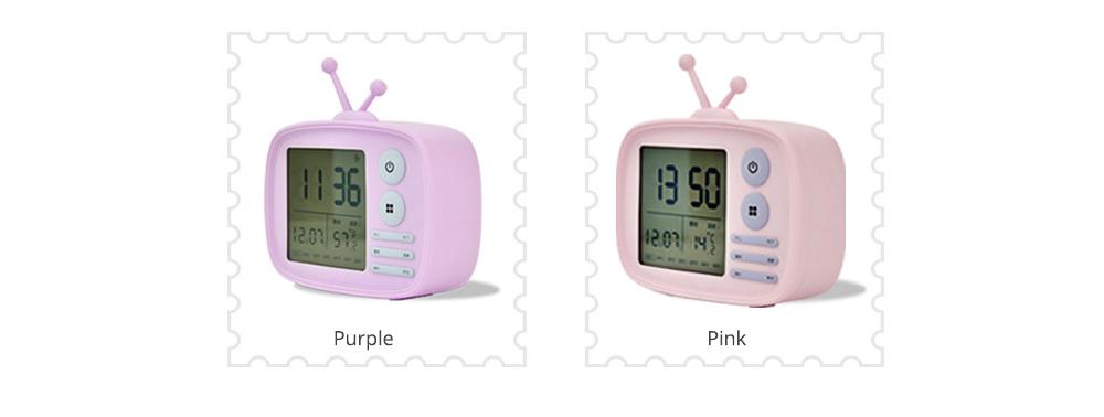 Creative Television Model Intelligent Digital Alarm Clock Watch, Stylish Funny Clock with Sound Reminder Two Light 12