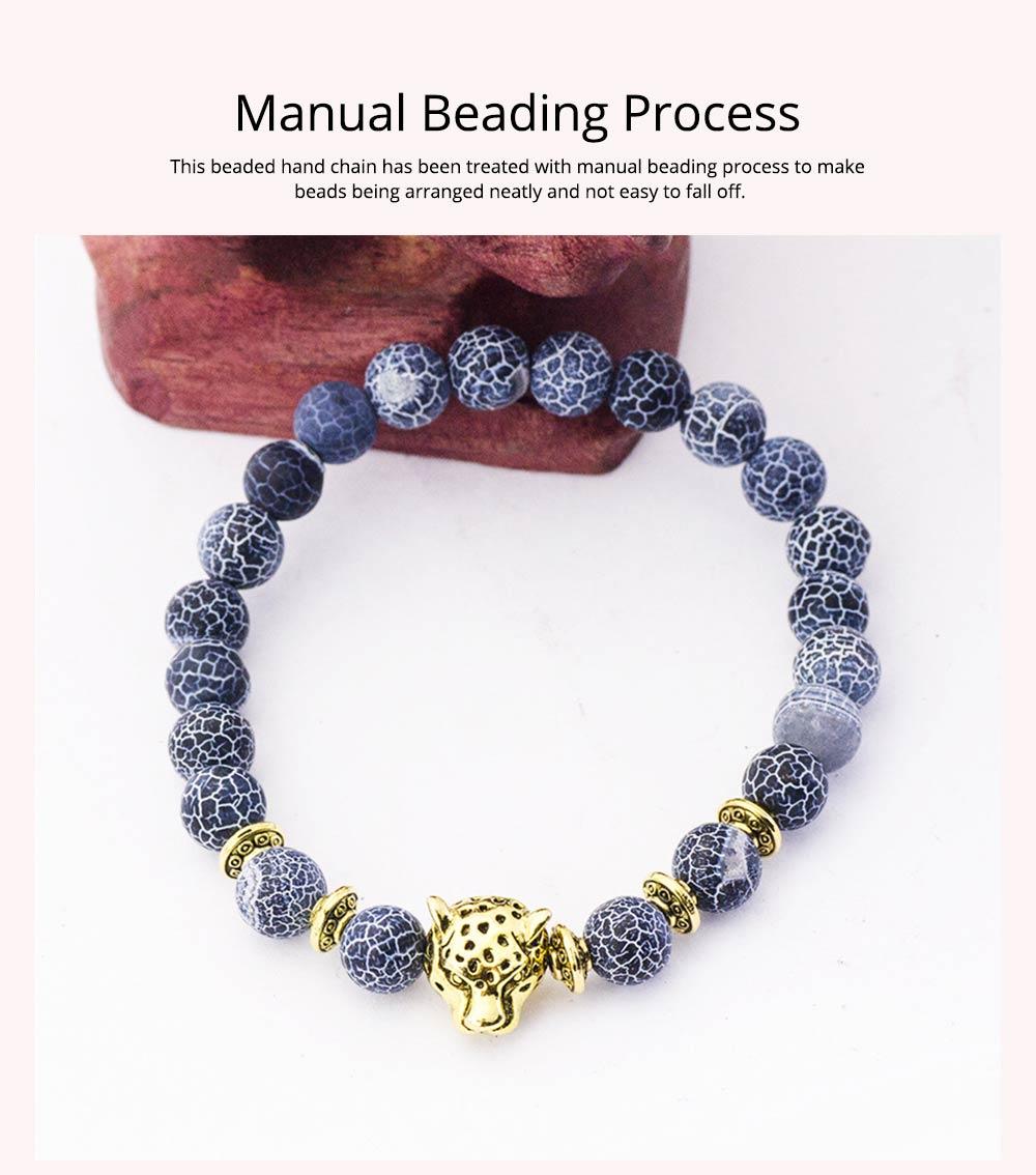 Stylish Elastic Beaded Bracelet Bangle for Men Women, Aggressive Natural Stone 8mm Beads Leopard Head Hand Chain 4