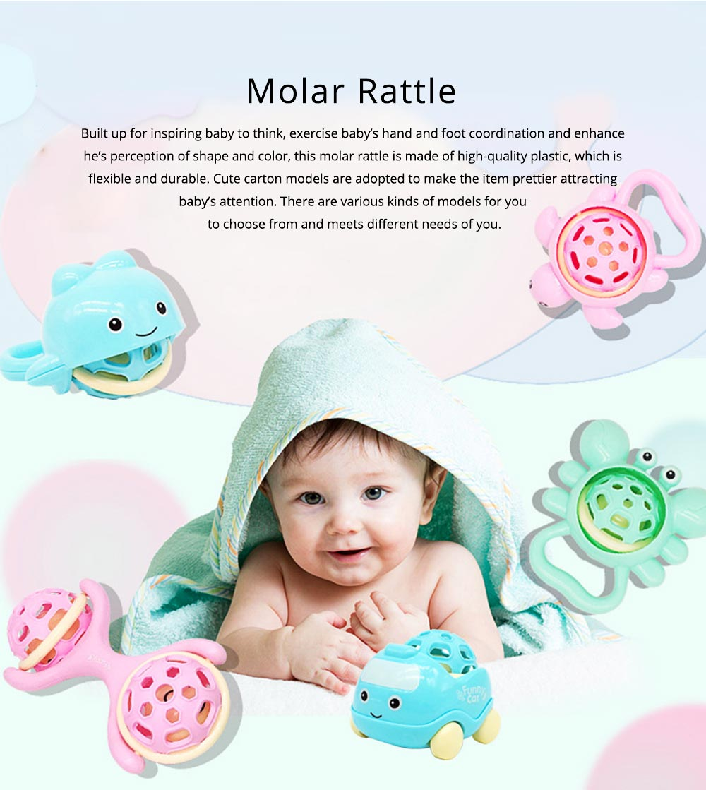 Cute Animal Dumbbell Car Model Teether Molar Rattle for Infants,Flexible Soft Environmentally Safe Plastic Grinding Gum Toy 0