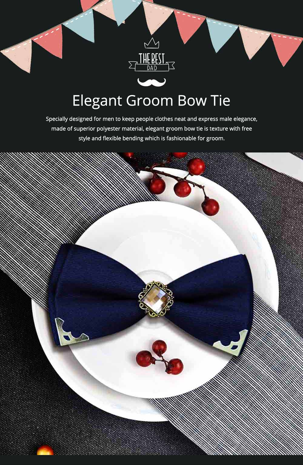 Elegant Groom Bow Tie for Men Boys - Various Style in Different Color, Gentleman Grid Bow Tie Set with Bead 0