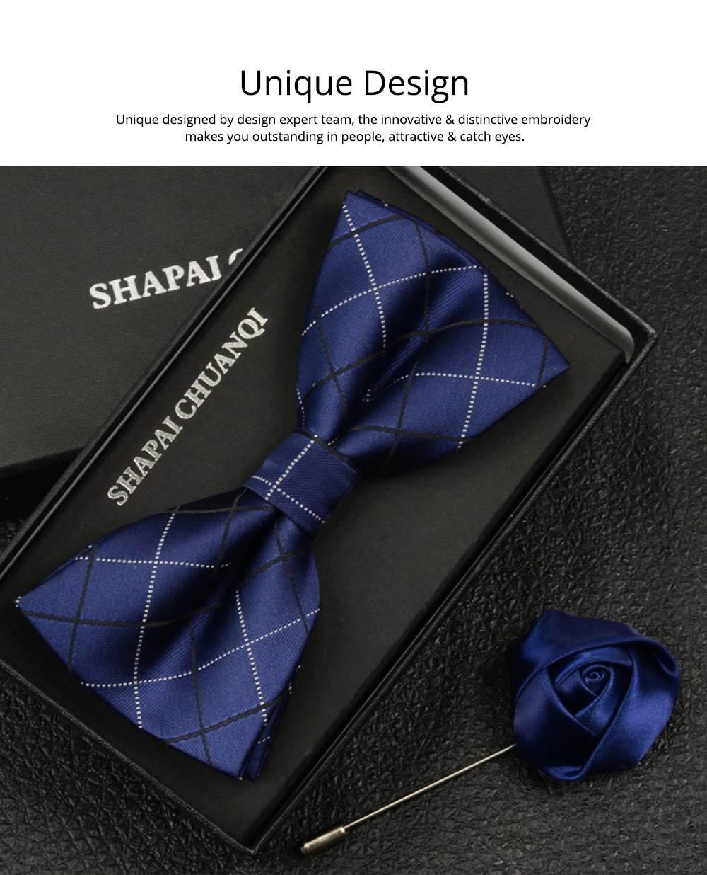 Men's Self Tie Bow Ties, Unique Grid Pattern Bow Ties, Various Styles for Groomsman Gets Married 1