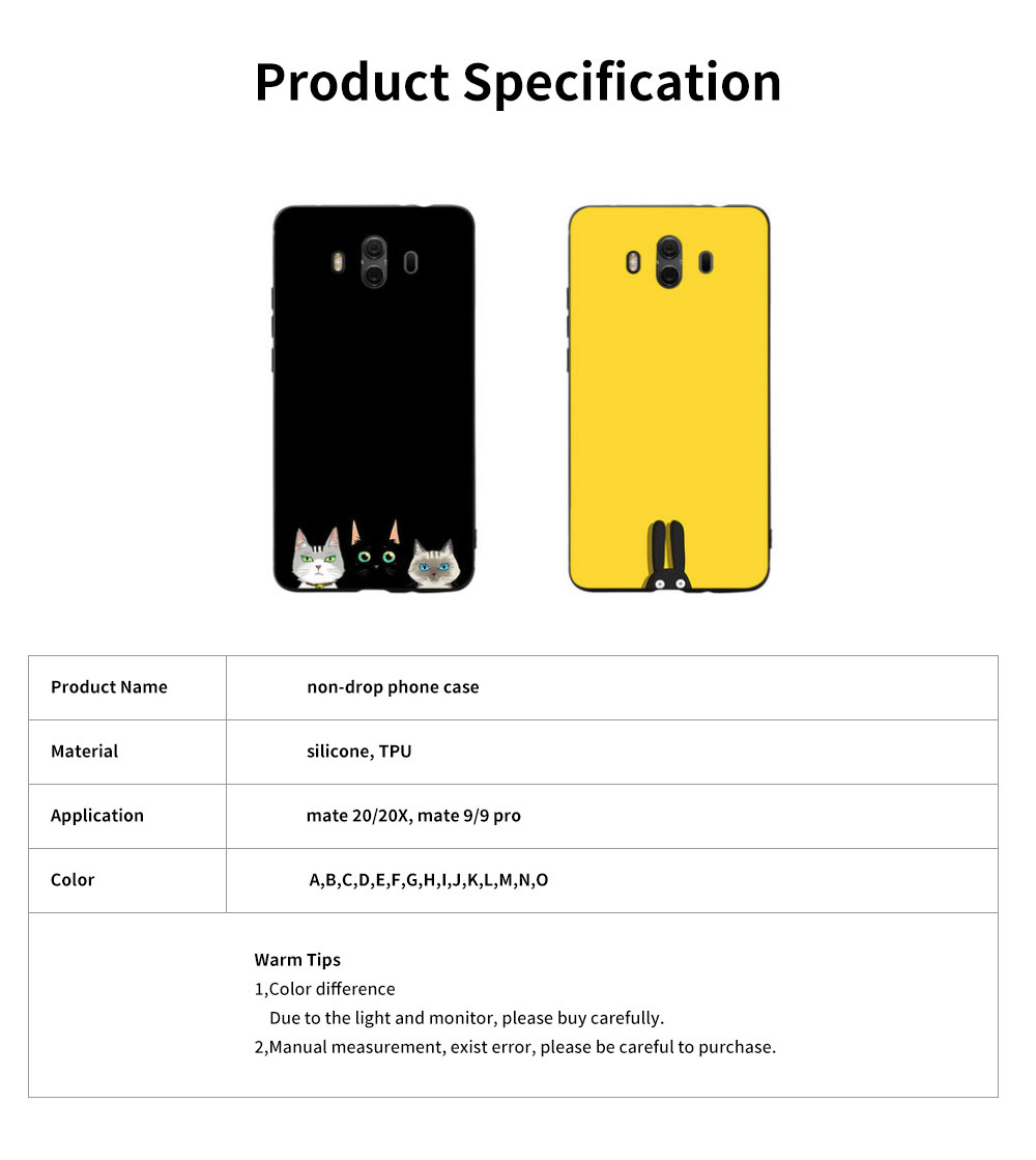 Non-drop Phone Case for HUAWEI Mate 20x/20, mate 9/9 pro, HD Colorless Painted Soft Shell Full Package with Black Background Design of Three Kittens 6