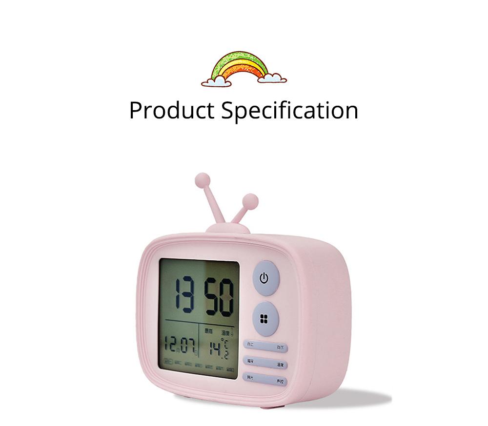 Creative Television Model Intelligent Digital Alarm Clock Watch, Stylish Funny Clock with Sound Reminder Two Light 13