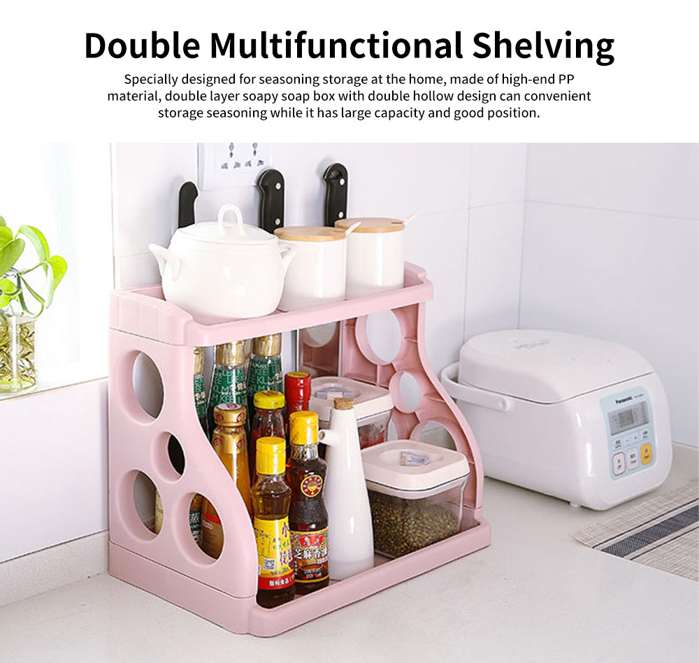 Double Multifunctional Shelving with Double Hollowed-out Design & Three Knives & Higher Barriers for Seasoning 0