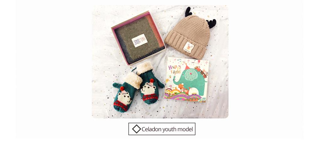 Cute Warm Children Deer Antler Beanie Cap Scarf Gloves 3 PCS Suit, Elegant Cartoon Animal Sewing Autumn Winter Christmas Accessories Set for Children 15