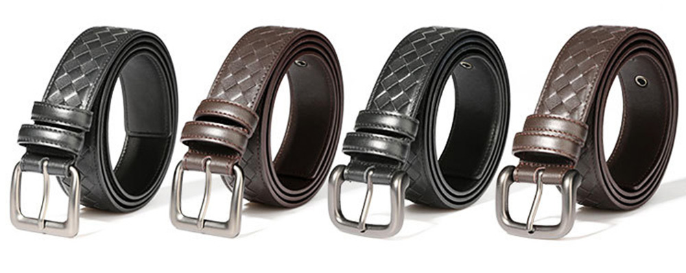 Father's Day Woven Men's Belt, First Layer Leather Belt with Texture Alloy Pin Buckle, Automatic Buckle Business Belt 2