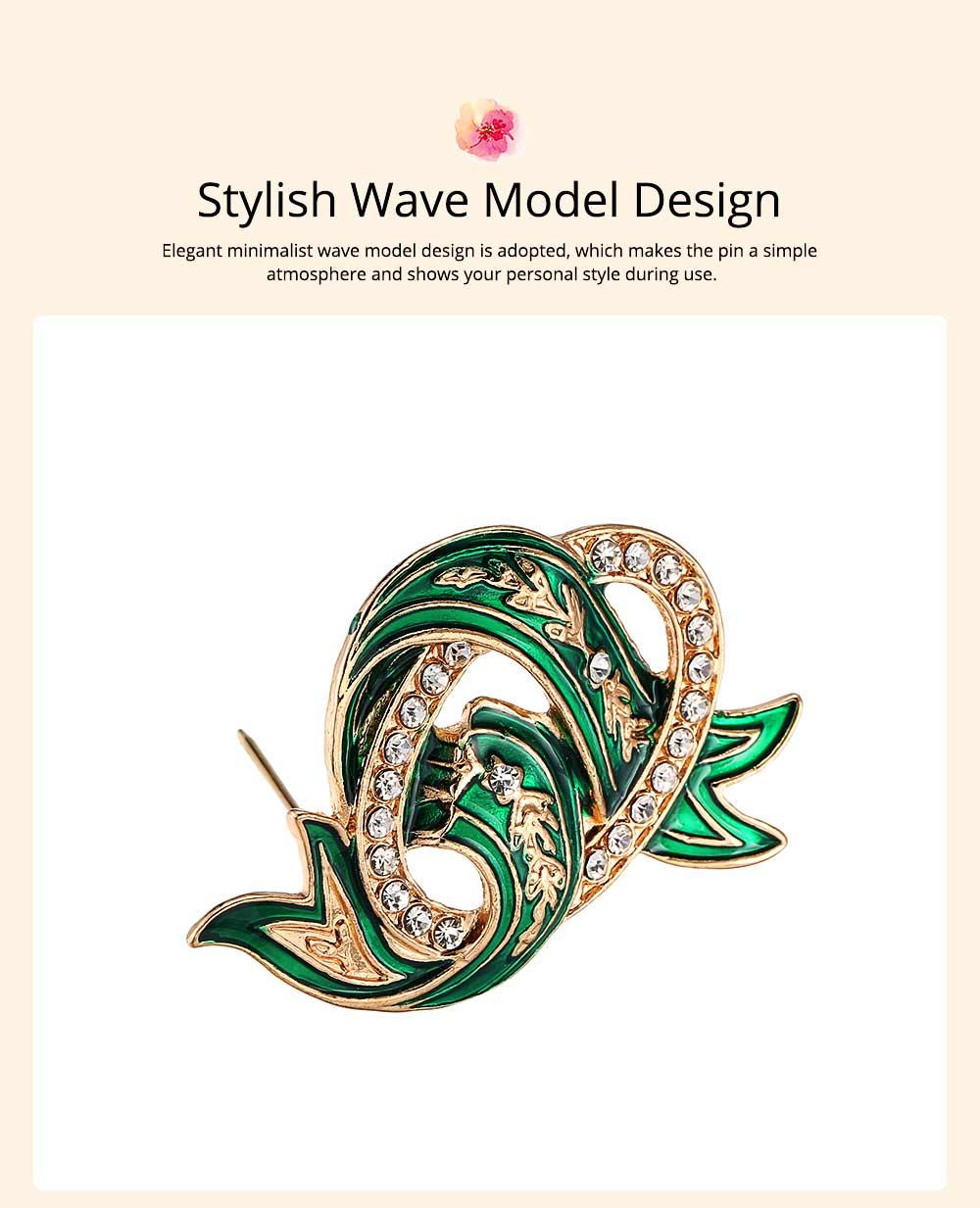 Elegant Green Wave Model Rhinestone Embellishment Alloy Brooch for Women, Scarf Clothes Ornament Accessories Breastpin Women Jewelry 3