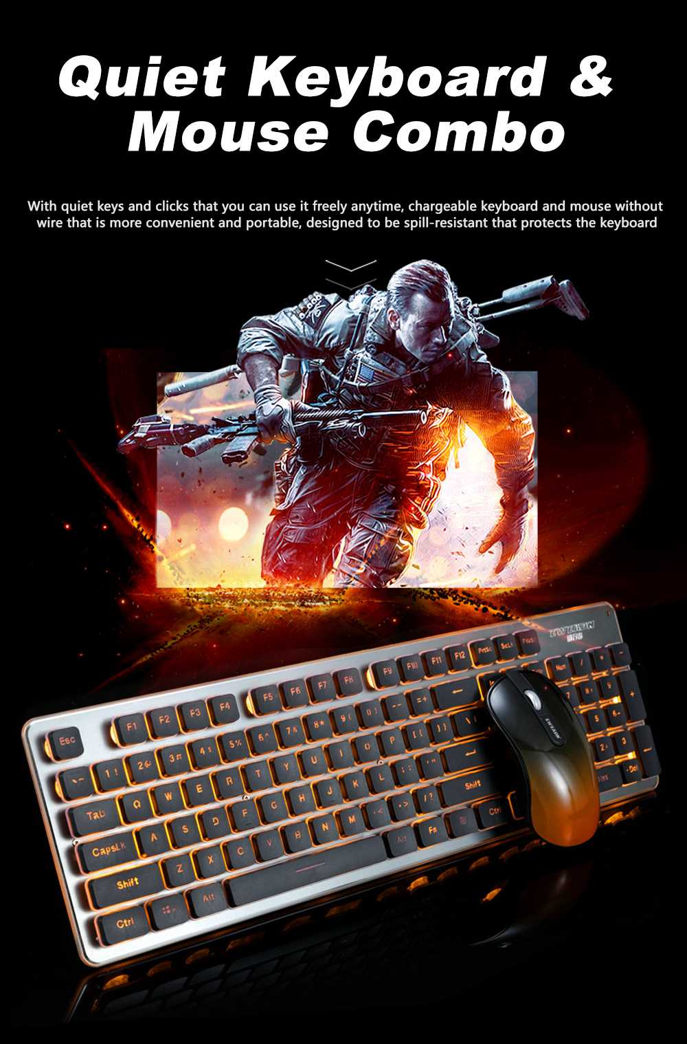 Quiet Gaming Keyboard and Mouse Combo, LED Backlit Quiet Keyboard and Mouse Gaming Set Wireless 7