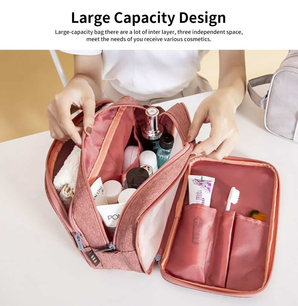 Large-capacity Waterproof Toiletry Bag Cosmetic Storage Bag with Separating Dry & Wet Function for Business Trips 2
