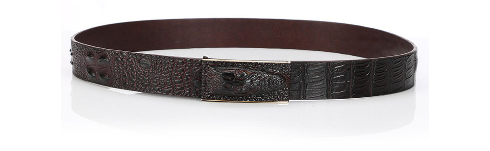 Men's Alloy Buckle Belt with Crocodile Smooth Buckle, Premium Leather Polished Stone Business Belt for Father's Day 5