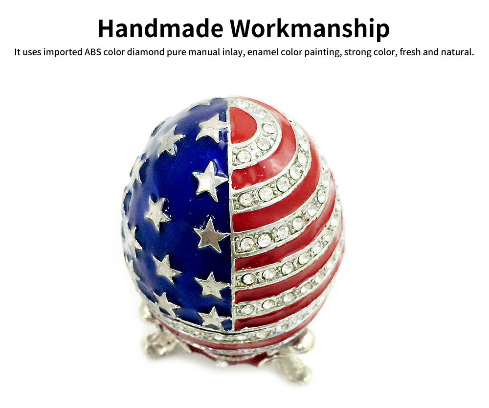 Easter Egg with American Flag Appearance, Enamelled Jewellery Case, Painted Metal Crafts Luxury Ornaments 1
