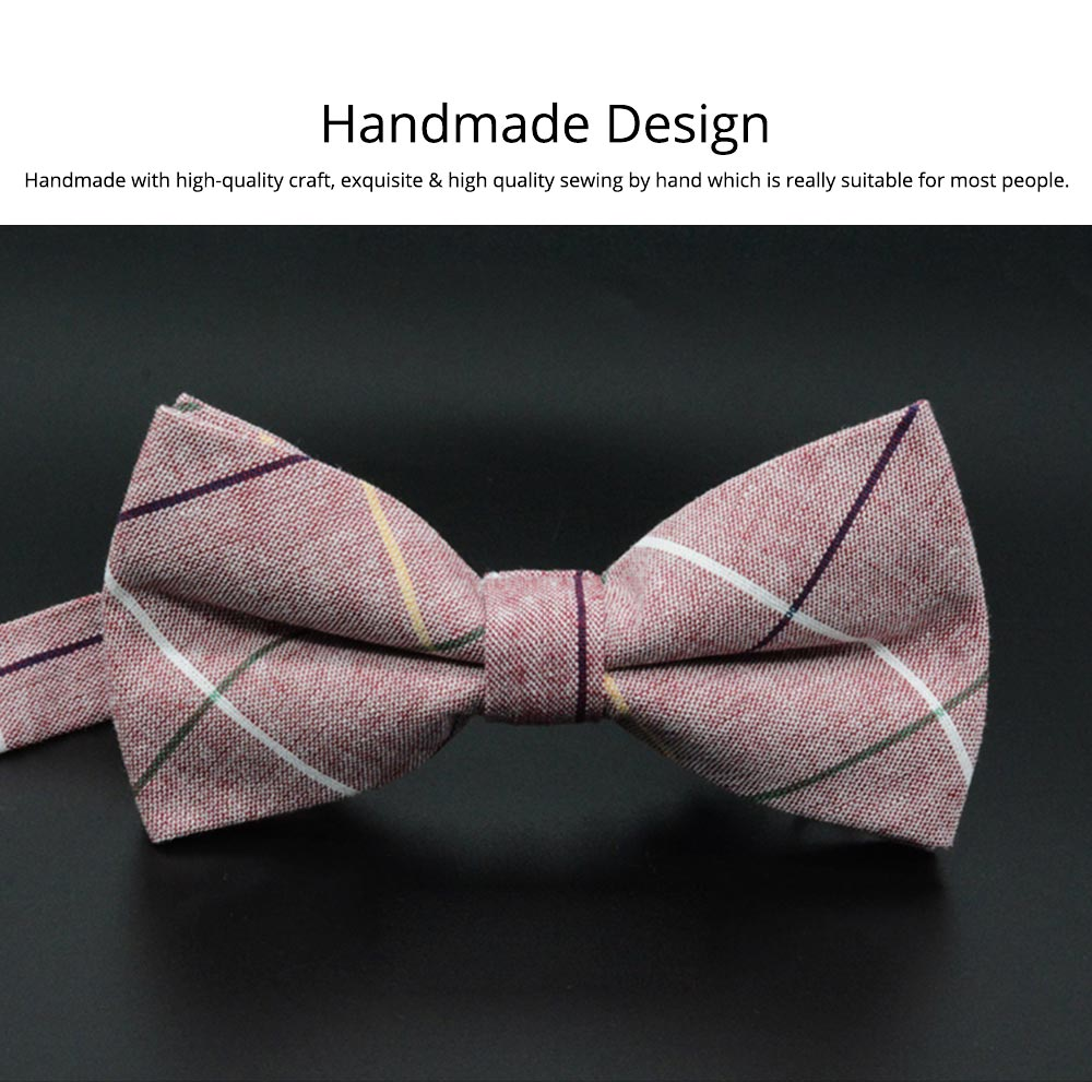 Men' Cotton Grid Self Tie Bow Ties, Unique Bow Ties with Various Styles for Groomsman Gets Married 4