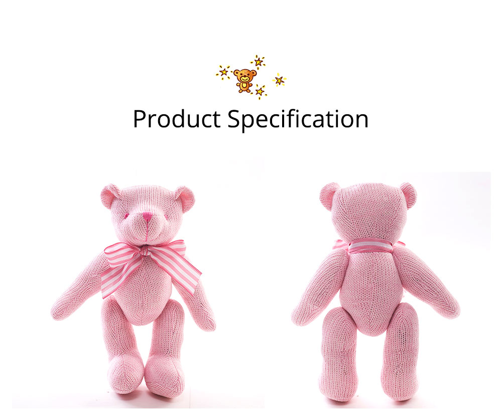 Cute Jointed Teddy Bear Doll with Bow Decoration, Animal Carton Fluffy Toy Birthday Present Gift for Children 12