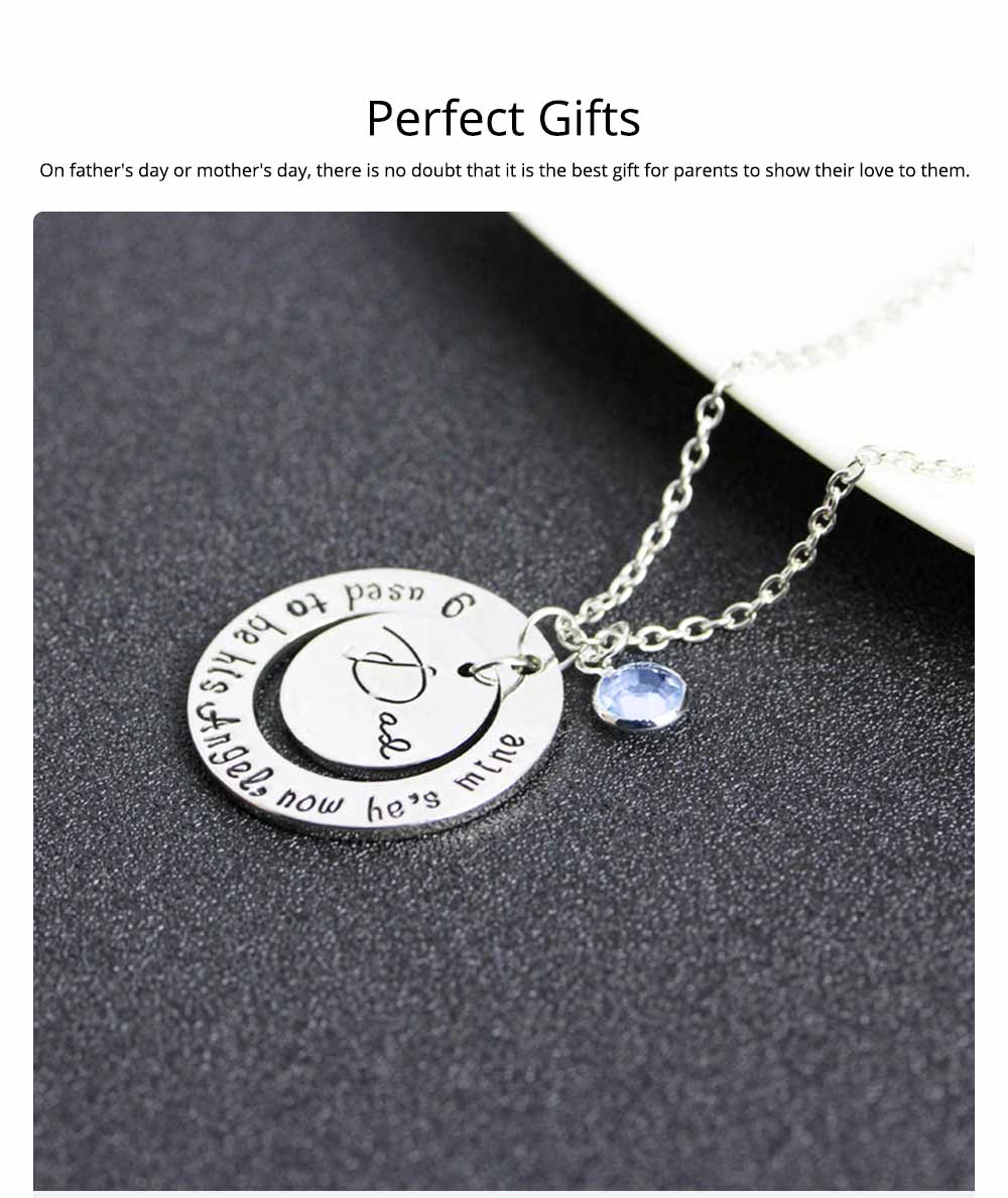 Family Series Pendant with Creative Letters of Dad & Mom Angel, Father's Day and Mother's Gift Angel Necklace 5