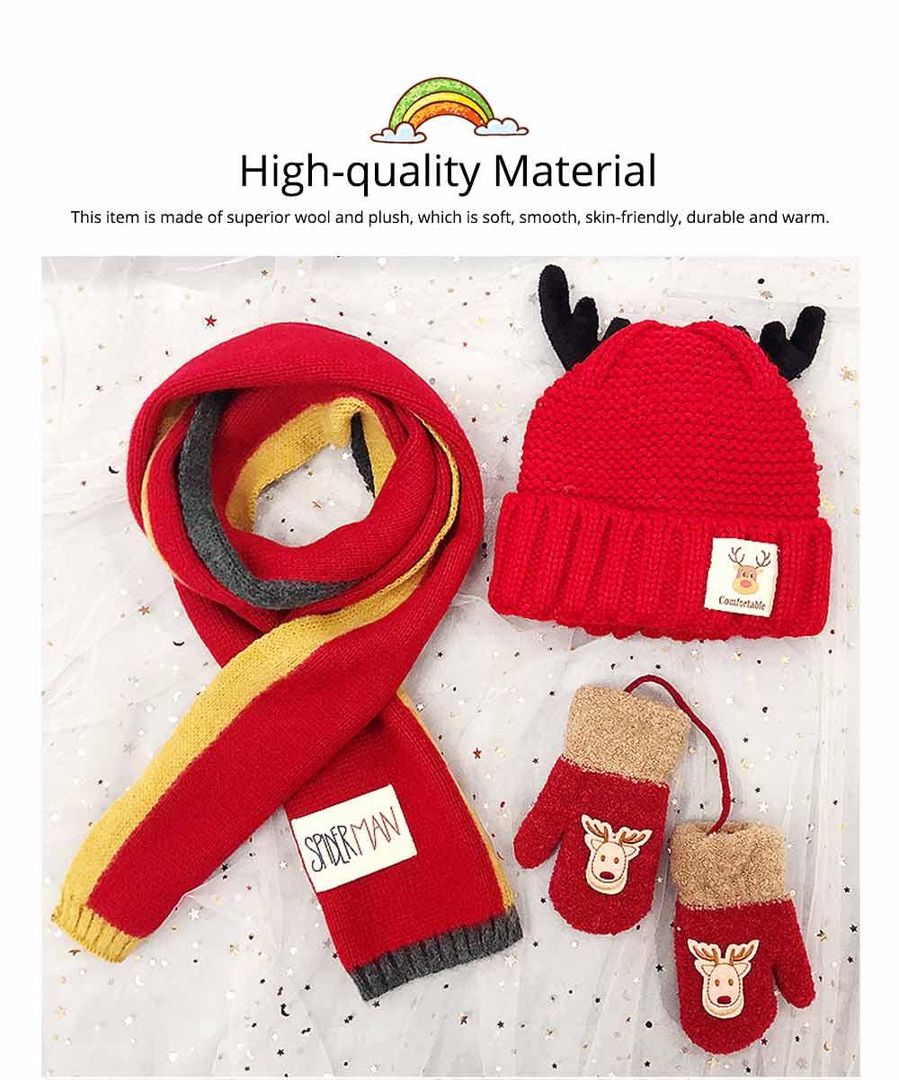 Cute Warm Children Deer Antler Beanie Cap Scarf Gloves 3 PCS Suit, Elegant Cartoon Animal Sewing Autumn Winter Christmas Accessories Set for Children 1