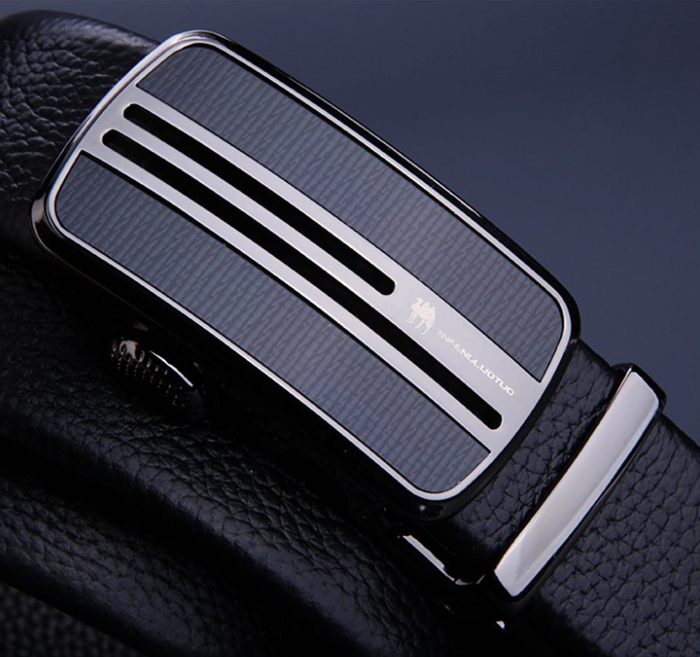 Men's Scratch Resistant Pure Leather Belt with Texture Alloy Buckle, Automatic Buckle Business Belt for Father's Day 2