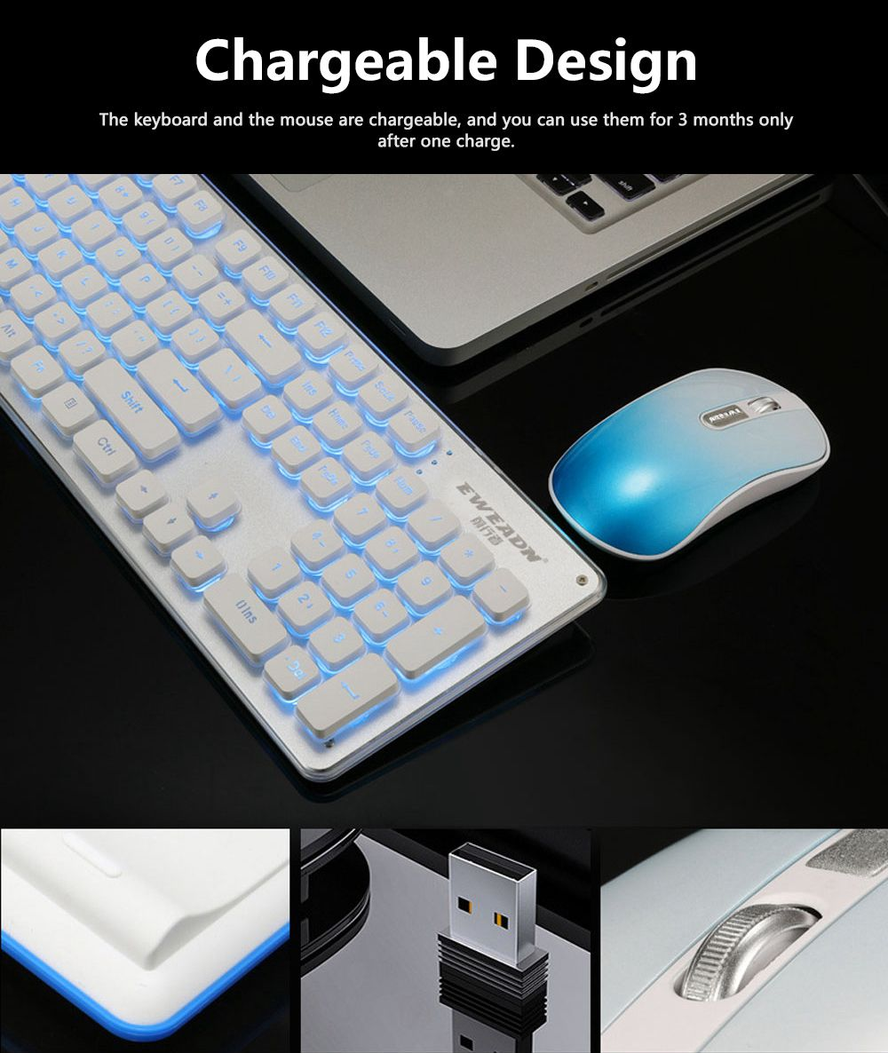 Quiet Gaming Keyboard and Mouse Combo, LED Backlit Quiet Keyboard and Mouse Gaming Set Wireless 10