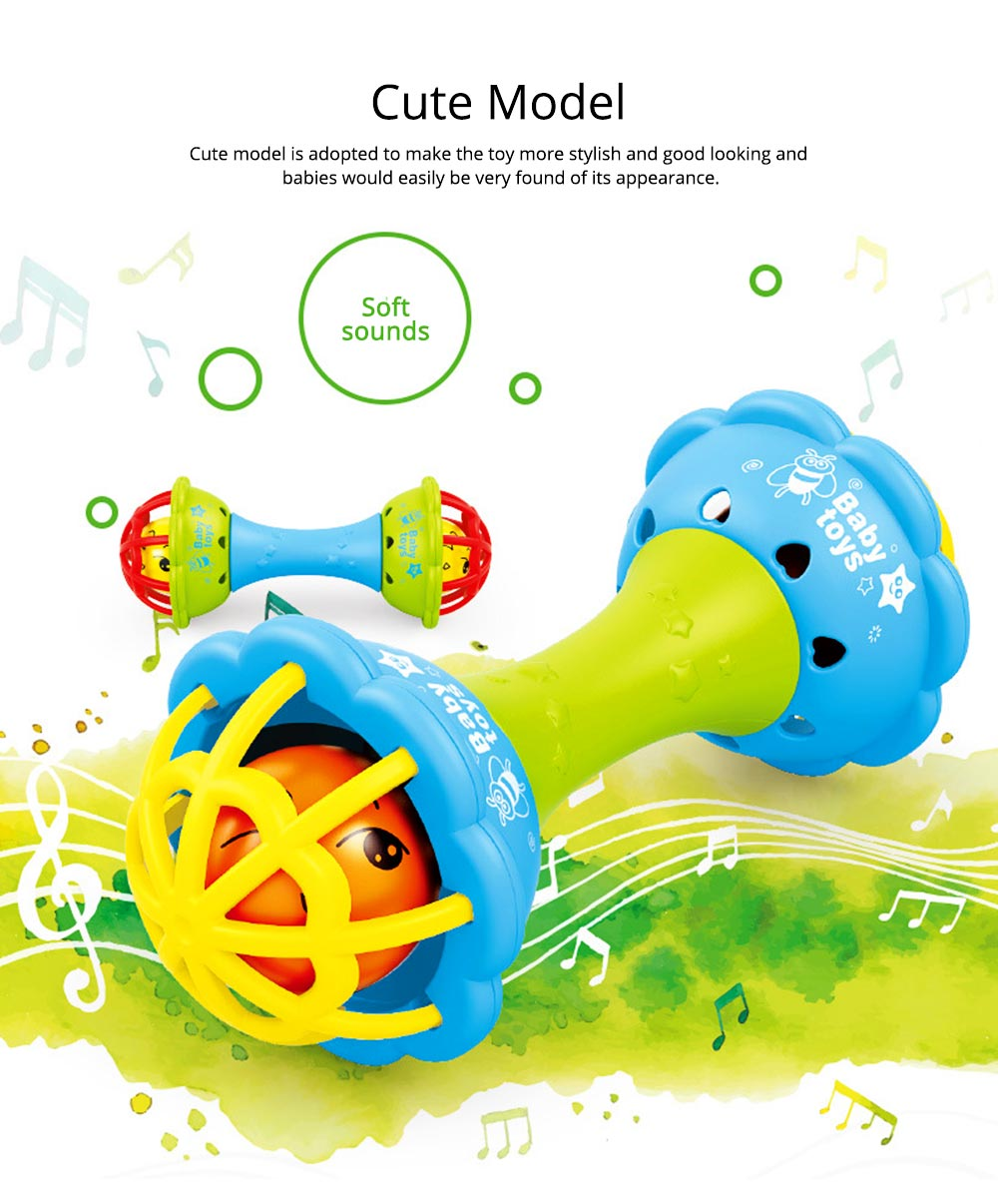 Soft Silicone Teether Plastic Hand Bell Hammer, Solid ABS Handbell Rattle Babies Early Education Toy 4