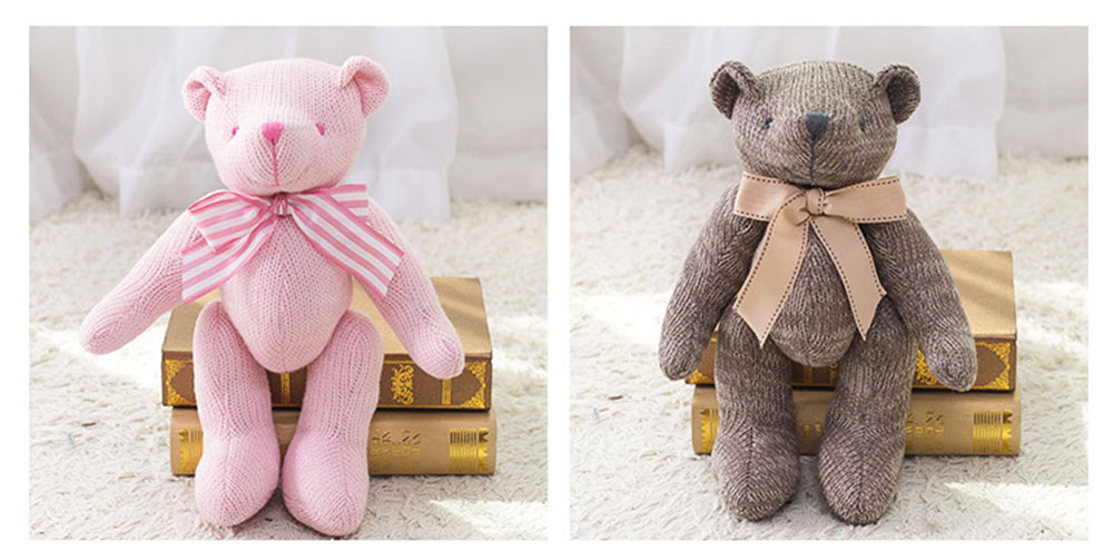 Cute Jointed Teddy Bear Doll with Bow Decoration, Animal Carton Fluffy Toy Birthday Present Gift for Children 10