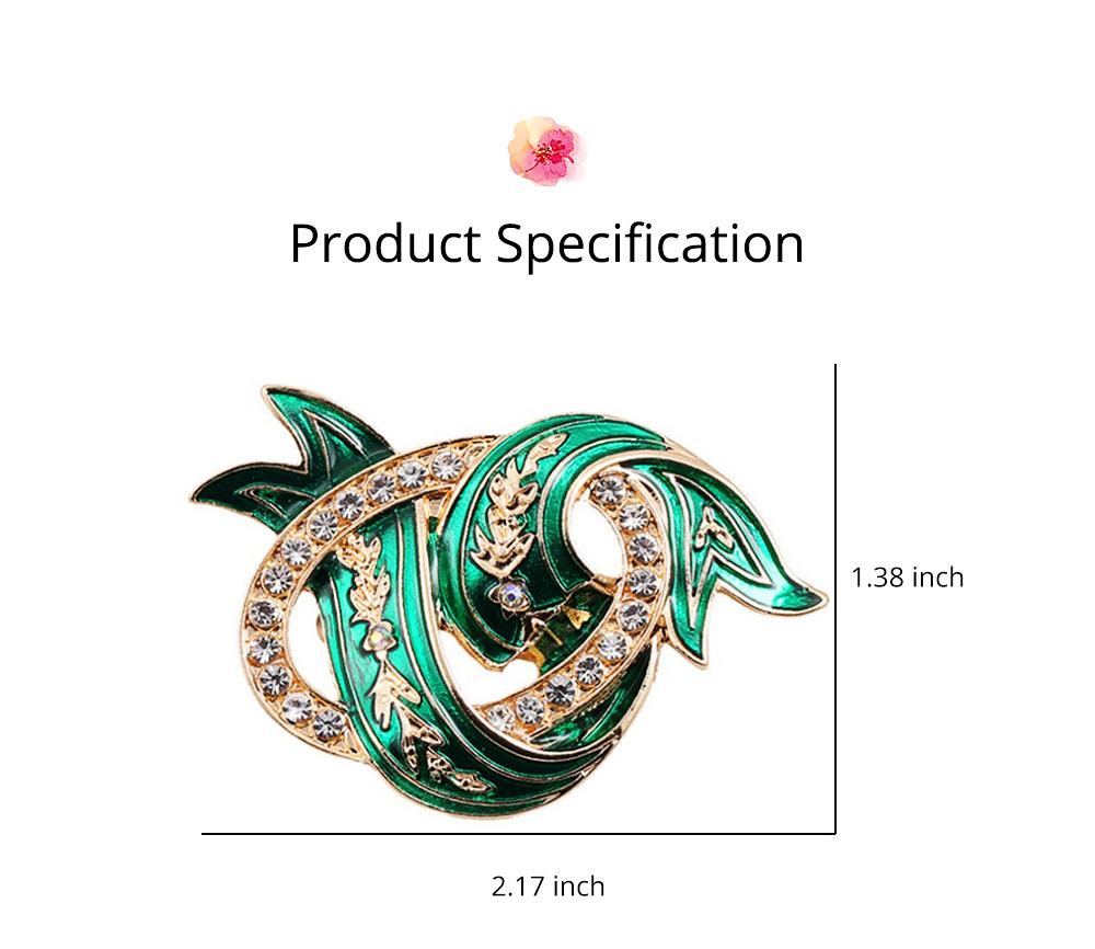 Elegant Green Wave Model Rhinestone Embellishment Alloy Brooch for Women, Scarf Clothes Ornament Accessories Breastpin Women Jewelry 6