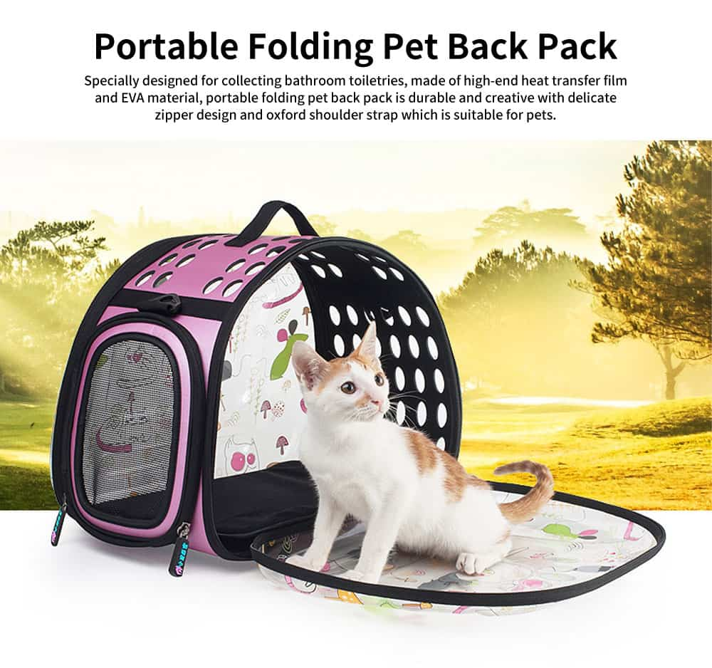 Transparent Portable Folding Pet Back Pack with Porous Air & Elegant Zipper Design for Pets Outdoors 0
